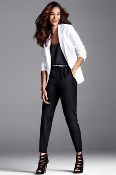 Create graphic pop by pairing a black ensemble with a crisp white blazer. | Party in H&M