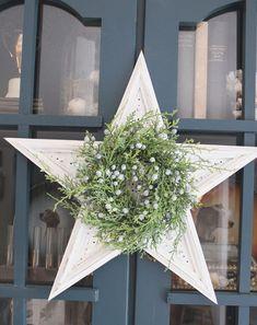 Americana Decor Chalky Finish and some small greenery transform a flea market star into chic Christmas decor.