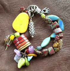 Summer Bracelet:  Vivid bright colors in Czech glass, ceramic, tagua nut