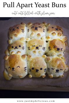 Pull apart yeast sweet buns filled with plum jam is perfect for breakfast, dessert or even supper. If you like cats or just cute things you should do this then. #recipe #recipes #food #lunch #supper #breakfast #cutefood #cute #foodstylist #foodstyling #foodphotographer #foodphotography #foodie #foodart #cat #cats #kitten #bun #buns #sweetbuns #yeast #yeastbuns #pullapart #plumjam #jam Plum Jam, Sweet Buns, Pull Apart, Cute Food, Food Styling, Food Art, Food Photography, Lunch, Breakfast Dessert