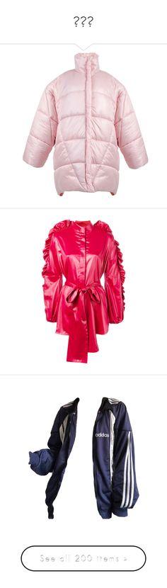 """""""아우터"""" by myonmyonee ❤ liked on Polyvore featuring outerwear, jackets, coats, pink, pink jacket, pink waterproof jacket, puffy jacket, waterproof puffer jacket, pink puffer jacket and red"""