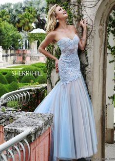Sherri Hill 11155 Strapless Lace Gown - Prom 2015 - RissyRoos.com
