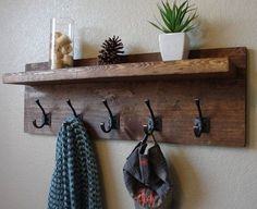 Claremont Coat Rack w/ Floating Shelf Rustic Modern Light Walnut 5 Hanger Hook Coat Hat Rack with Floating Shelf by KeoDecor on Etsy Diy Hat Rack, Hat Racks, Towel Racks, Coat Rack Shelf, Coat Hooks With Shelf, Entry Coat Hooks, Diy Coat Hooks, Wood Coat Hanger, Hat Shelf