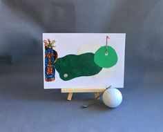 Golfing card made from recycled fabric scraps lovepaperscissors14