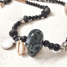 Black Carved Skull necklace / Mechant Studio