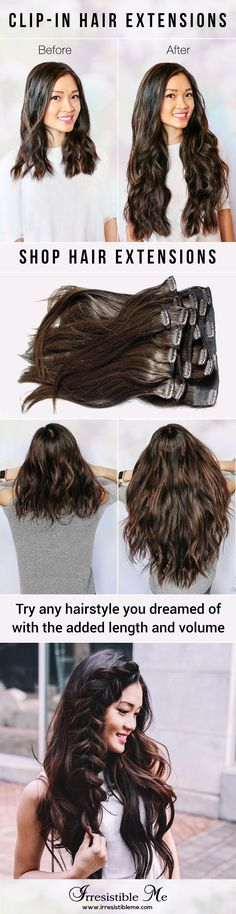 Add length and volume in just minutes with Irresistible Me 100% human Remy clip-in hair extensions and try any hairstyle you want without any damage to your own hair. They can be dyed, cut and heat styled. You can choose the color, length and weight.