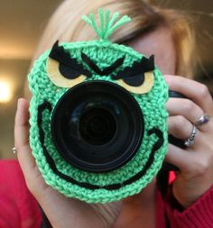 Camera lens buddy. Crochet lens buddy Christmas by Swifferkins, $13.99