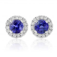 Rudells 18ct White Gold Round Sapphire and Diamond Earrings - Small Image