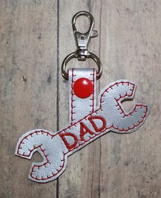 Dad Wrench Mini Bag Tag Keychain Embroidery Machine Design for the 4x4 hoop