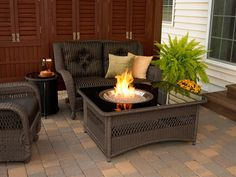 Unique, stylish, and durable, the Outdoor GreatRoom Company Naples Coffee Table with Fire Pit Table is a must have to a country cottage style home. This coffee table and fire pit can be placed in th Fire Pit Coffee Table, Propane Fire Pit Table, Wicker Coffee Table, Gas Fire Pit Table, Outdoor Coffee Tables, Garden Fire Pit, Fire Pit Backyard, Backyard Patio, Patio Table