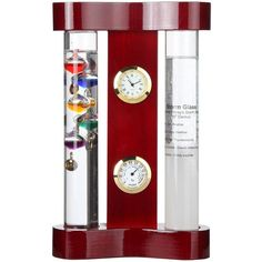 Lily's Home Galileo Weather Station with Galileo Thermometer, Admiral Fitzroy Storm Glass, a Precision Quartz Clock and Hygrometer Weather Predictor, Galileo Thermometer, Weather Instruments, Clocks For Sale, 1 Piece, Locker Storage, Quartz, Lily, Glass