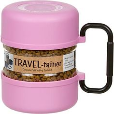 Pink Gamma Travel-tainer. Serves as storage for pet food, but both ends also come off for feeding $19.99
