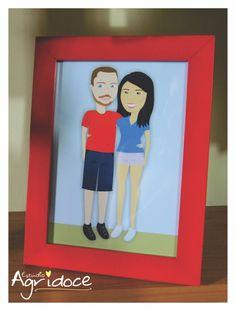 Criação da ilustração personalizada do casal + impressão + moldura vermelha com vidro. Pronta para decorar seu lar!  Tamanho do quadro: 16 x 20 cm. R$ 100,00