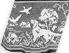 1950s Hunting Dogs chair set pattern in filet crochet