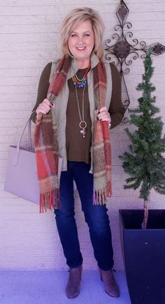 50 IS NOT OLD | OLIVE IN THE FALL | Cinched waist vest | Accessorize | Blanket Scarf | Fashion over 40 for the everyday woman