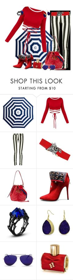 """blue, black, red --- together"" by svetlozeme on Polyvore featuring Off-White, N°21, Gucci, Bling Jewelry, Alexander McQueen and Carolina Herrera"