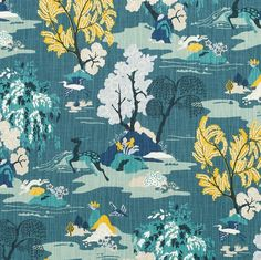 Turquoise Toile Upholstery Fabric by the Yard  by PopDecorFabrics