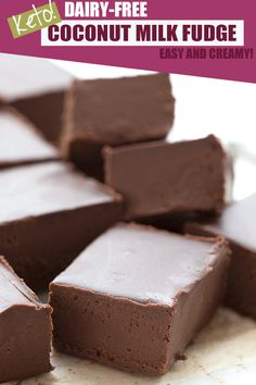 Keto dairy free fudge made with coconut milk. Super creamy and delicious! Keto dairy free fudge made with coconut milk. Super creamy and delicious! Dairy Free Fudge, Dairy Free Keto Recipes, Dairy Free Treats, Low Carb Recipes, Scd Recipes, Low Calorie Fudge Recipe, Dairy Free Foods, Gluten Free, Dairy Free Low Carb