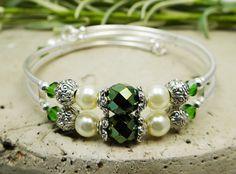 Memory Wire Bracelet, Green, Swarovski Crystals, Czech Glass, Ivory Glass Pearls, Wedding, Bridal, Bridesmaid, One Size, Elegant,