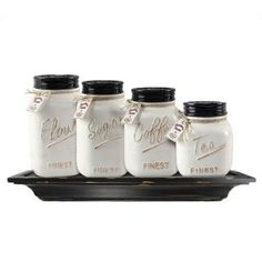 Add a little country charm to your kitchen with this stylish and decorative four piece mason jar canister set.