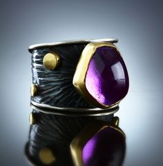 Amethyst Ring One. Of A Kind. Fabricated Sterling Silver & 18k. www.amybuettner.com