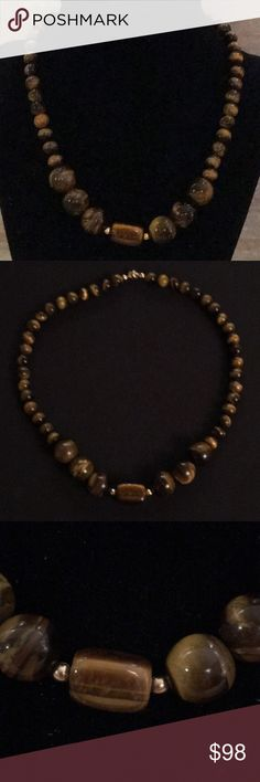 """Tiger eye 16"""" necklace with 14KGP clasp Handmade, beautiful tiger eye necklace. Mangalinga Jewelry Necklaces"""