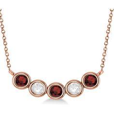 af8f47a58bdf Allurez Diamond   Garnet 5-Stone Pendant Necklace 14k Rose Gold 1.00ct  ( 1