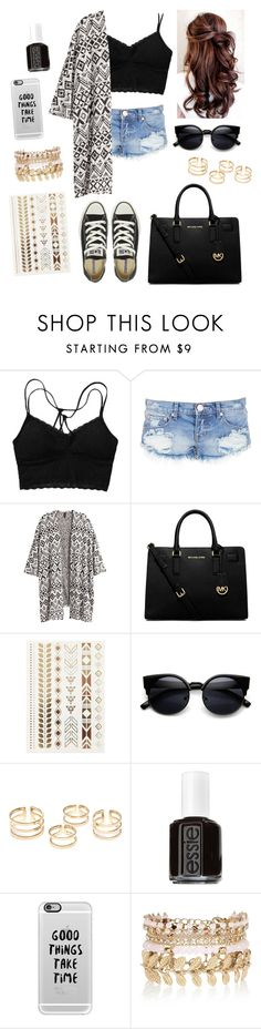 """Cause darling I'm a nightmare dressed like a daydream..."" by elizabethnutt ❤ liked on Polyvore featuring One Teaspoon, H&M, MICHAEL Michael Kors, Topshop, Essie, Casetify, River Island, Converse, women's clothing and women's fashion"