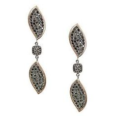 Kendra Black Diamond Earrings in Rose Gold with Sterling Silver Accents - Meredith Marks Designs (Also available in White Diamonds)
