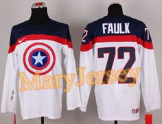 "$34.88 per one, welcome email ""MaryJersey"" at maryjerseyelway@gmail.com for Olympic Team USA 72 Justin Faulk White Captain America Fashion Stitched NHL Jersey"