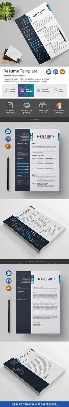 Resume Template PSD, Vector EPS, AI Illustrator, MS Word - Download: https://graphicriver.net/item/resume/21725077?ref=ksioks
