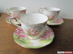 Royal Albert Bone China: Tea Cup & Saucer sets :: I have the creamer and  sugar bowl and one cup and saucer with this pattern. My sister gave them to me when she went to school in Victoria, British Columbia.