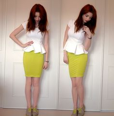 White Peplum Top, Neon Skirt, Nude And Neon Shoes