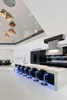 Luxury Kitchen Design, Dream Home Design, Luxury Kitchens, Modern House Design, Modern Interior Design, Modern Mansion Interior, Monochrome Interior, Custom Kitchens, Luxury Homes Interior