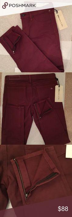 rag & bone coated zipper capri jeans rag & bone coated zipper capri jeans NWT Burgundy size 30 never been worn rag & bone Jeans Ankle & Cropped