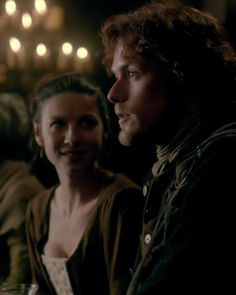 """Caitriona Balfe as Claire Beauchamp Randall and Sam Heughan as Jamie Fraser in Outlander on Starz 