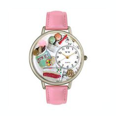 @Overstock - This charming timepiece from Whimsical features a Dessert Lover theme with hand-painted miniatures of cookies, cake slice and ice cream on a bright background. The watch offers a silvertone stainless steel case on a pink leather strap.http://www.overstock.com/Jewelry-Watches/Whimsical-Womens-Dessert-Lover-Theme-Pink-Leather-Strap-Watch/5672593/product.html?CID=214117 $45.46