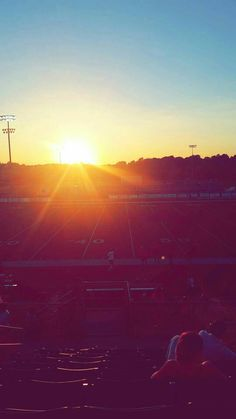 Football field sunset