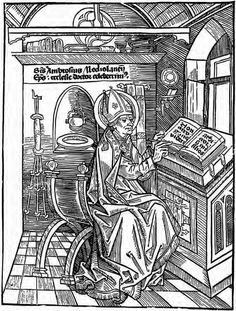St Ambrose in his Study Woodcut 1492 Basel