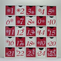 Advent calendar box with 25 numbered drawers. Product: Calendar boxConstruction Material: WoodColor: Red and whiteFeatures: 25 Numbered drawersDimensions: H x W (overall) Advent Calendar Boxes, Advent Calander, Advent Box, Calendar Ideas, Advent Ideas, Xmas Ideas, Holiday Ideas, Childrens Christmas, Christmas Love