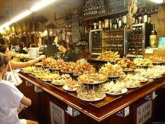 Tapas lunch at one of many pintxos bars in the capital of Tapas pan Sebastian Tapas Recipes, Chef Recipes, Great Recipes, Antipasto, Paella Party, San Sebastian Spain, Sharing Platters, Sandwich Bar, Luxury Restaurant