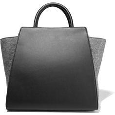 ZAC Zac Posen Eartha felt-paneled leather tote (21.715 RUB) ❤ liked on Polyvore featuring bags, handbags, tote bags, purses, bolsos, sacs, grey, genuine leather tote, leather tote and tote handbags