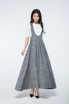 Gray Pinafore Dress  Loose-Fitting Cool Long gray Maxi por YL1dress