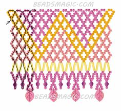 Free pattern for beaded necklace Crystal Leaves | Beads Magic - 2--U need Seed beads 11/0, Crystal Beads 4 mm. , Bugles, Leave Shaped Beads
