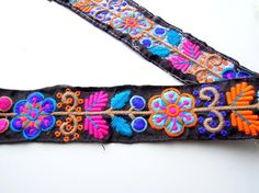Indian trim hand embroidered Boho flower cotton lace
