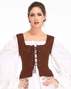 Pirate Wench Peasant Renaissance Medieval Costume Corset Bodice XLarge Chocolate * You can find out more details at the link of the image.