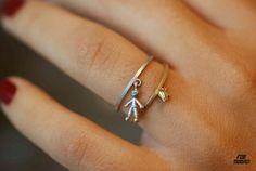 son ring and heart ring in gold 18k / aliança menino e coração em ouro 18k