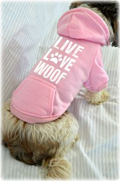 Small Dog Sweatshirts. Live Love Woof. Small Pet Clothes. Valentine's Day Dog Shirt. Pets Clothing Hoodie. Dog Apparel. Dog Shirts. Gift for dog owner. Dog Lover Gift Idea. Dog Sweater. Shirt for Dog. Dog t shirts. Custom Dog shirts. Dog Sweatshirts. Puppy Shirt. Tiny Dog Clothes