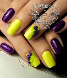 Enchanting Yellow and Purple Nail Art Design. Get your nails done with this beautiful and bright nail art design whether you are going to a beach party or just going to hang out with your friends. It will go oh-so incredible with all the occasions. Bright Nail Art, Yellow Nail Art, Love Nails, How To Do Nails, Fun Nails, Purple Nail Designs, Nail Art Designs, Nails Design, Fruit Nail Art