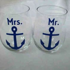 I found this on Etsy: Mr. and Mrs. anchor mugs, 2 nautical themed beer mugs for bride and groom weddin... $20.00 http://etsy.me/yKgcC0